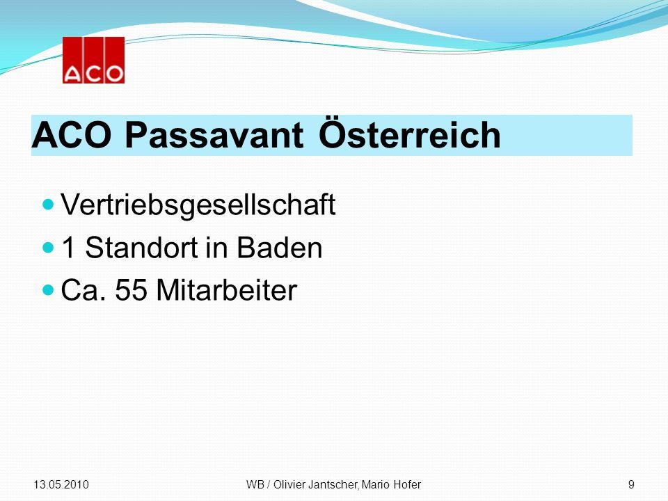 ACO Passavant Österreich Vertriebsgesellschaft 1 Standort in Baden Ca. 55 Mitarbeiter 13.05.2010WB / Olivier Jantscher, Mario Hofer9