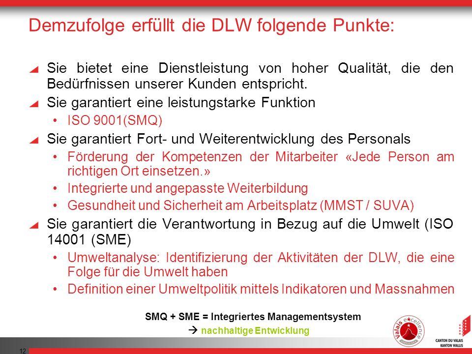 12 Demzufolge erfüllt die DLW folgende Punkte: Sie bietet eine Dienstleistung von hoher Qualität, die den Bedürfnissen unserer Kunden entspricht.