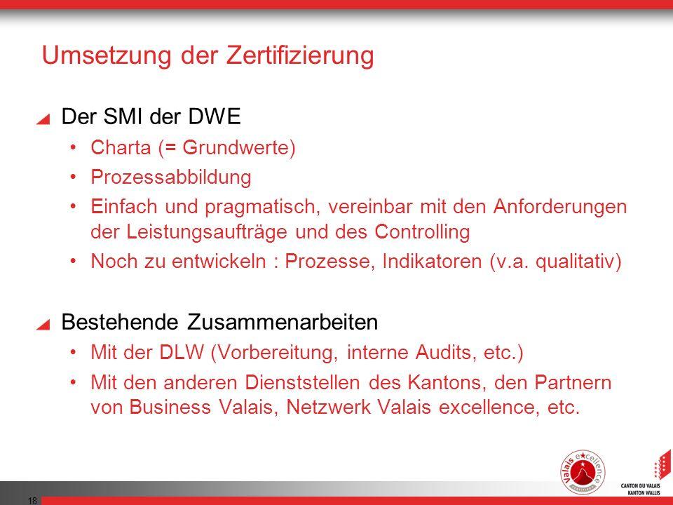 18 Umsetzung der Zertifizierung Der SMI der DWE Charta (= Grundwerte) Prozessabbildung Einfach und pragmatisch, vereinbar mit den Anforderungen der Leistungsaufträge und des Controlling Noch zu entwickeln : Prozesse, Indikatoren (v.a.