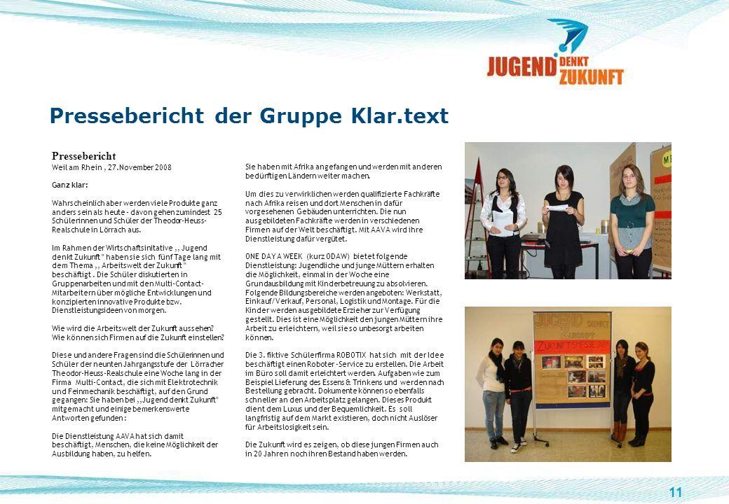 11 Pressebericht der Gruppe Klar.text Pressebericht Weil am Rhein, 27.November 2008 Ganz klar: Wahrscheinlich aber werden viele Produkte ganz anders s