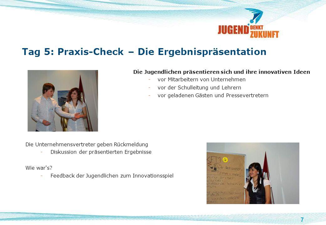 7 Tag 5: Praxis-Check – Die Ergebnispräsentation Die Jugendlichen präsentieren sich und ihre innovativen Ideen -vor Mitarbeitern von Unternehmen -vor