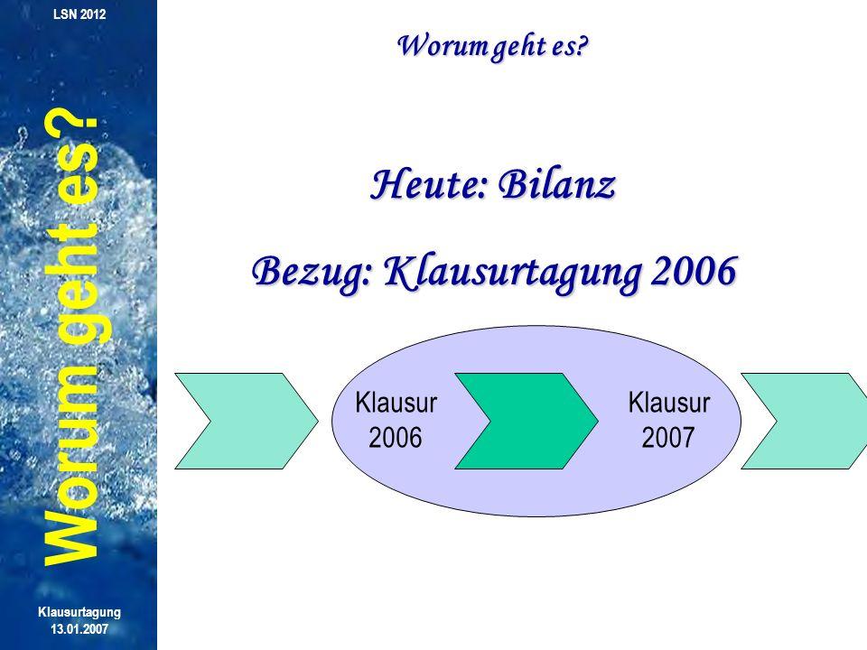 Klausur 2007 Weil es um unseren Verband geht, interessiert mich heute: Wie beurteilt Ihr das zurückliegende Jahr.