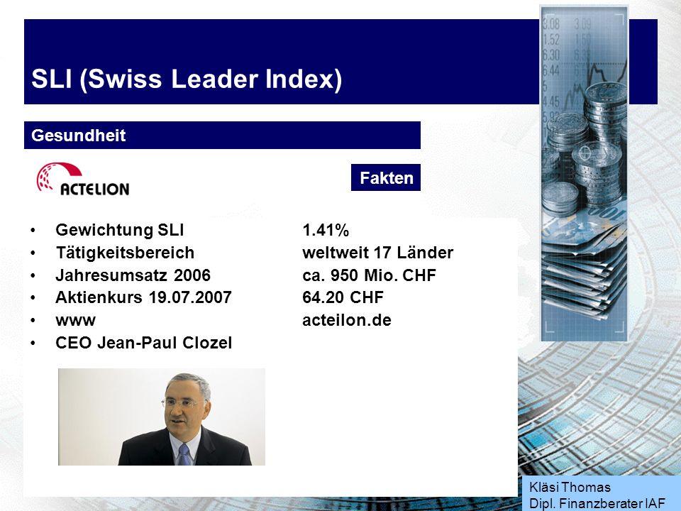 Kläsi Thomas Dipl. Finanzberater IAF SLI (Swiss Leader Index) Industrie Produkte