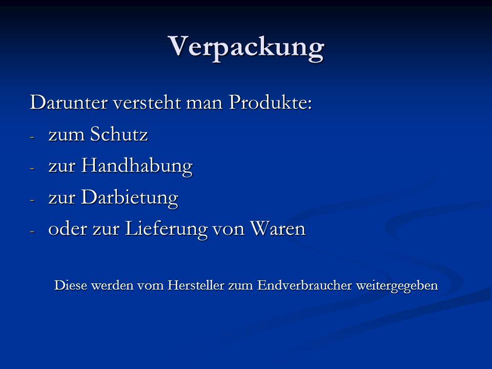 Verpackung Darunter versteht man Produkte: - zum Schutz - zur Handhabung - zur Darbietung - oder zur Lieferung von Waren Diese werden vom Hersteller z