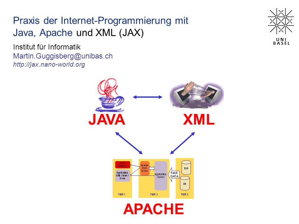 Praxis der Internet-Programmierung mit Java, Apache und XML (JAX) Institut für Informatik Martin.Guggisberg@unibas.ch http://jax.nano-world.org JAVAXML APACHE