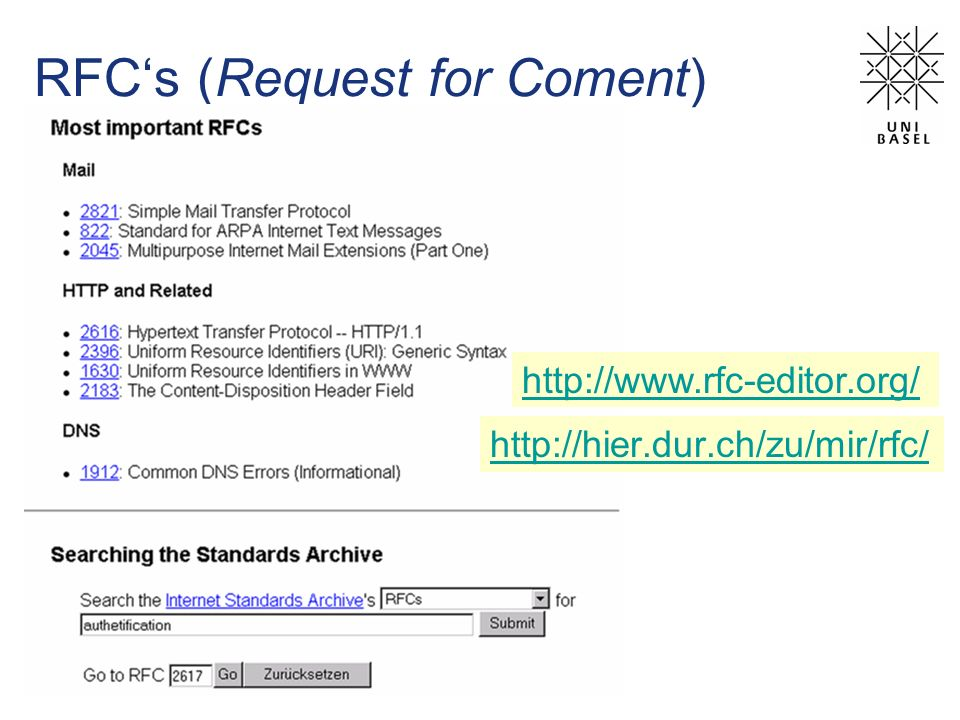 RFCs (Request for Coment) http://hier.dur.ch/zu/mir/rfc/ http://www.rfc-editor.org/