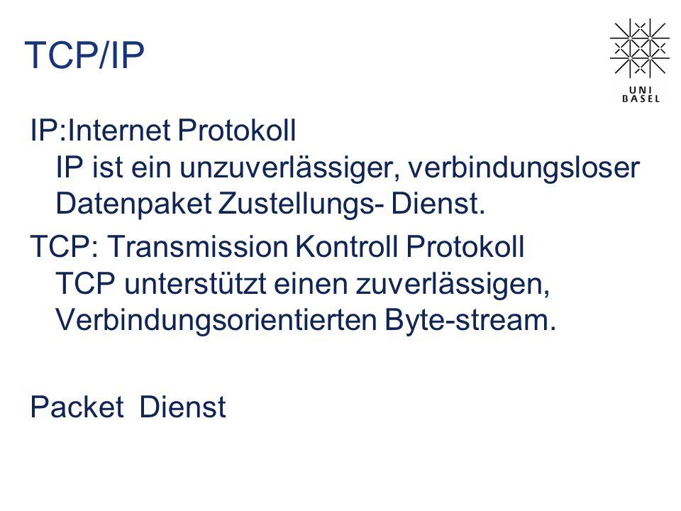 TCP/IP IP:Internet Protokoll IP ist ein unzuverlässiger, verbindungsloser Datenpaket Zustellungs- Dienst.