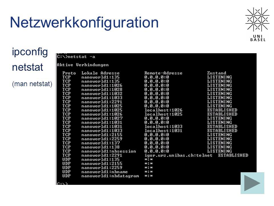 Netzwerkkonfiguration ipconfig netstat (man netstat)