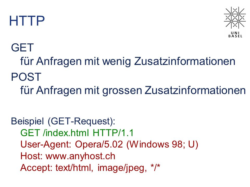 HTTP GET für Anfragen mit wenig Zusatzinformationen POST für Anfragen mit grossen Zusatzinformationen Beispiel (GET-Request): GET /index.html HTTP/1.1 User-Agent: Opera/5.02 (Windows 98; U) Host: www.anyhost.ch Accept: text/html, image/jpeg, */*