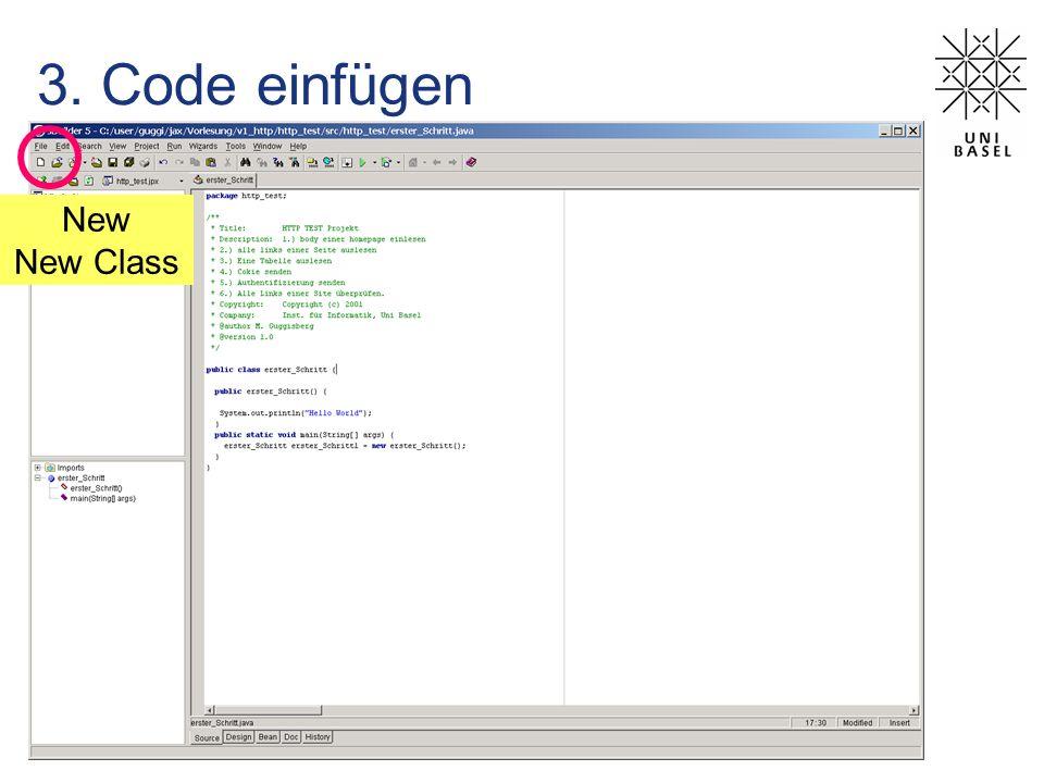 3. Code einfügen New New Class