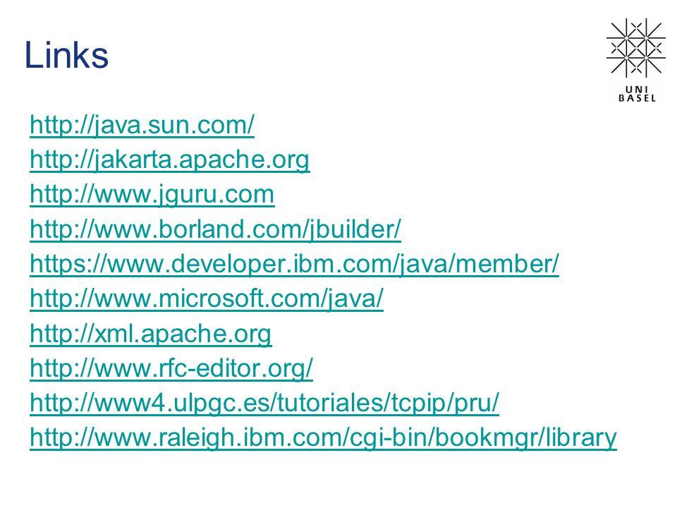 Links http://java.sun.com/ http://jakarta.apache.org http://www.jguru.com http://www.borland.com/jbuilder/ https://www.developer.ibm.com/java/member/ http://www.microsoft.com/java/ http://xml.apache.org http://www.rfc-editor.org/ http://www4.ulpgc.es/tutoriales/tcpip/pru/ http://www.raleigh.ibm.com/cgi-bin/bookmgr/library