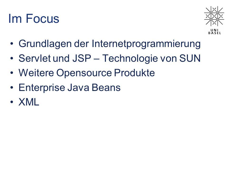 Im Focus Grundlagen der Internetprogrammierung Servlet und JSP – Technologie von SUN Weitere Opensource Produkte Enterprise Java Beans XML