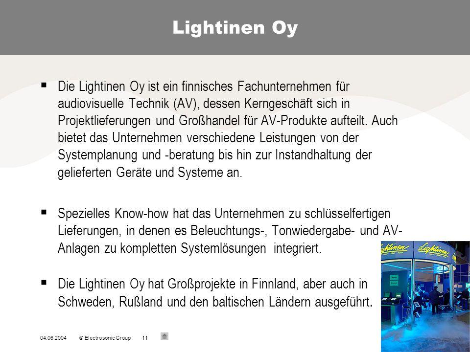 04.06.2004© Electrosonic Group11 Lightinen Oy Die Lightinen Oy ist ein finnisches Fachunternehmen für audiovisuelle Technik (AV), dessen Kerngeschäft sich in Projektlieferungen und Großhandel für AV-Produkte aufteilt.