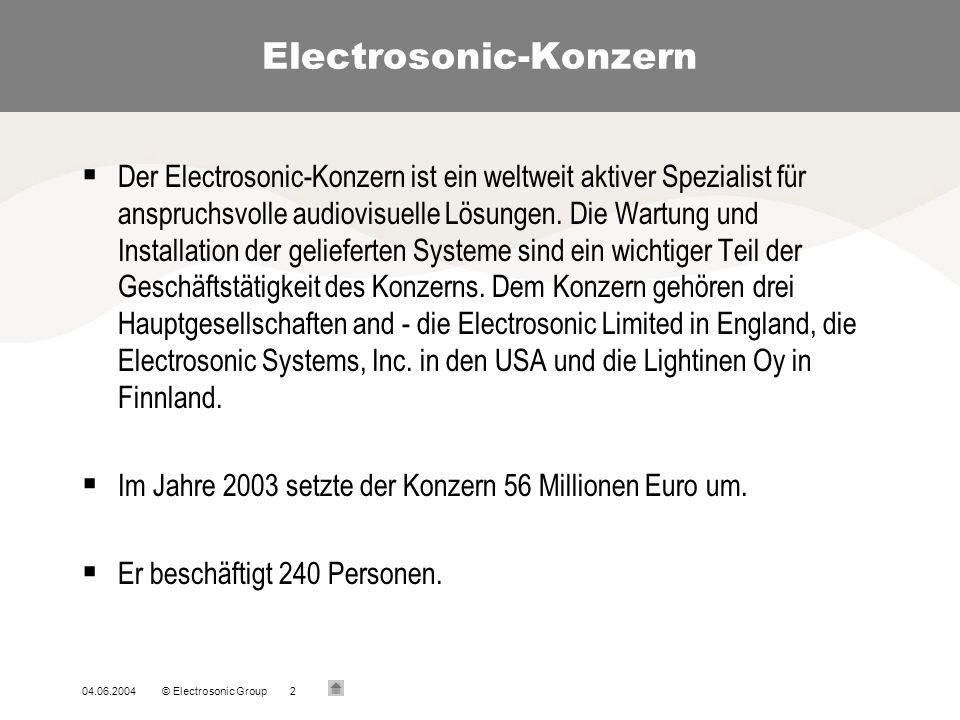 04.06.2004© Electrosonic Group2 Electrosonic-Konzern Der Electrosonic-Konzern ist ein weltweit aktiver Spezialist für anspruchsvolle audiovisuelle Lösungen.