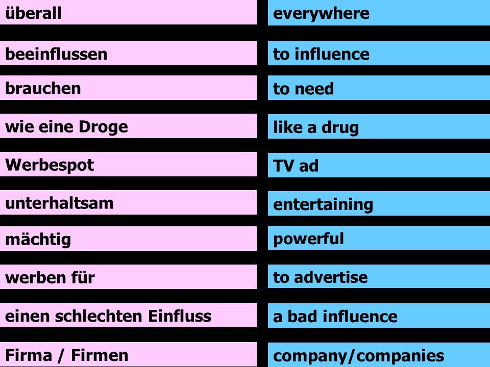 überall beeinflussen brauchen wie eine Droge Werbespot unterhaltsam mächtig werben für everywhere to influence to need like a drug TV ad entertaining