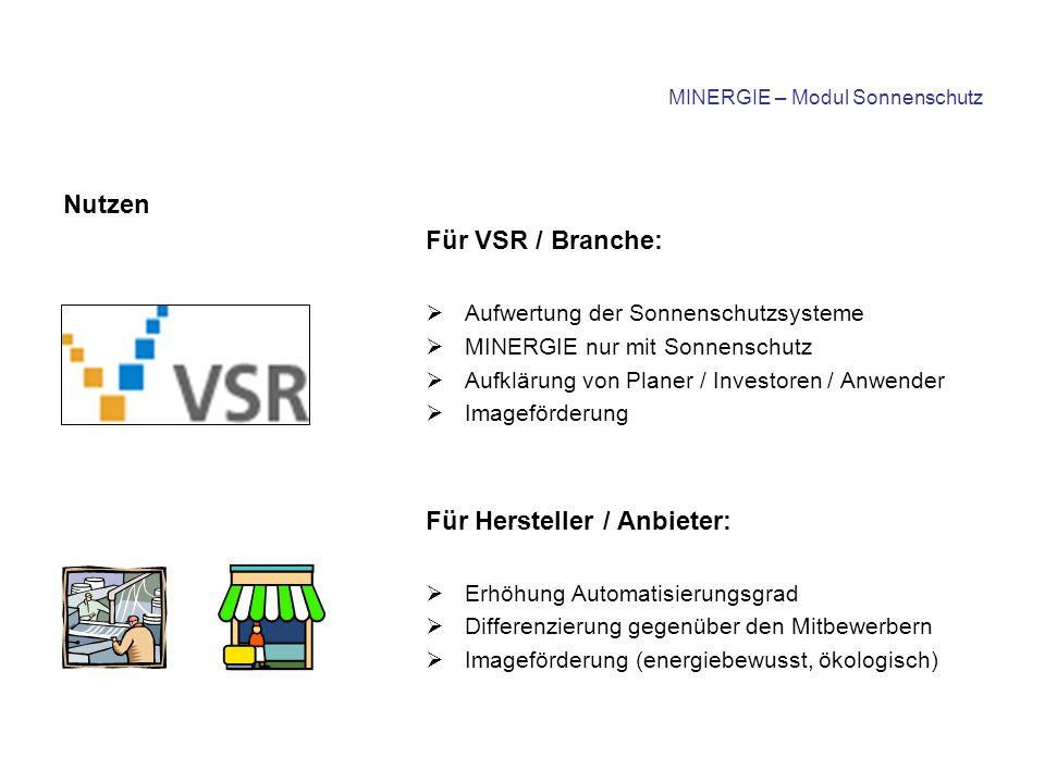MINERGIE – Modul Sonnenschutz Realisierung Der VSR-Vorstand beschliesst die Erstellung eines MINERGIE ® -Moduls für Sonnenschutz und beauftragt die TK mit der Umsetzung Arbeitsgruppe des VSR: - P.