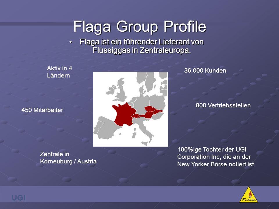 Flaga Vision Flaga ist ein führender Lieferant von Propangas in Zentraleuropa, der mit Service und qualitativ hochstehenden Produkten seine Kunden langfristig zufrieden stellen will.