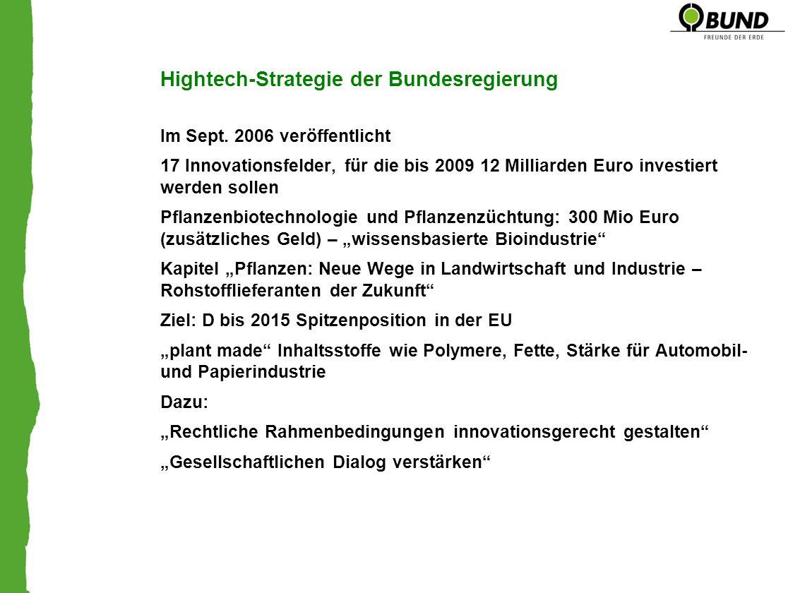 Hightech-Strategie der Bundesregierung Im Sept. 2006 veröffentlicht 17 Innovationsfelder, für die bis 2009 12 Milliarden Euro investiert werden sollen