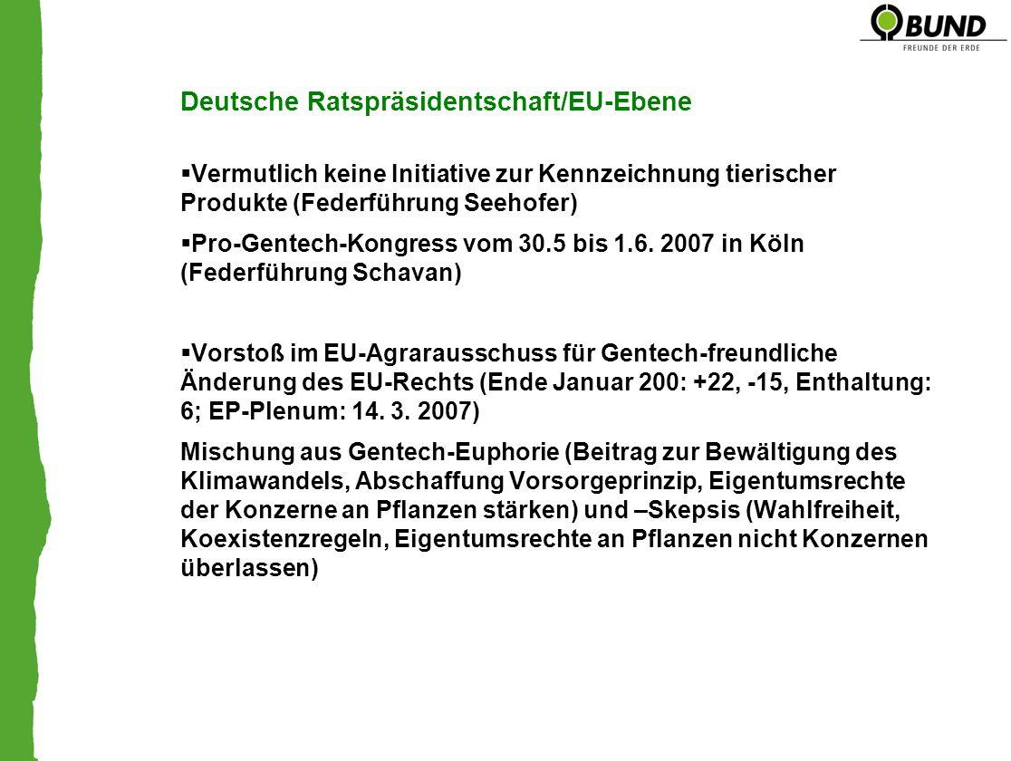 Deutsche Ratspräsidentschaft/EU-Ebene Vermutlich keine Initiative zur Kennzeichnung tierischer Produkte (Federführung Seehofer) Pro-Gentech-Kongress vom 30.5 bis 1.6.