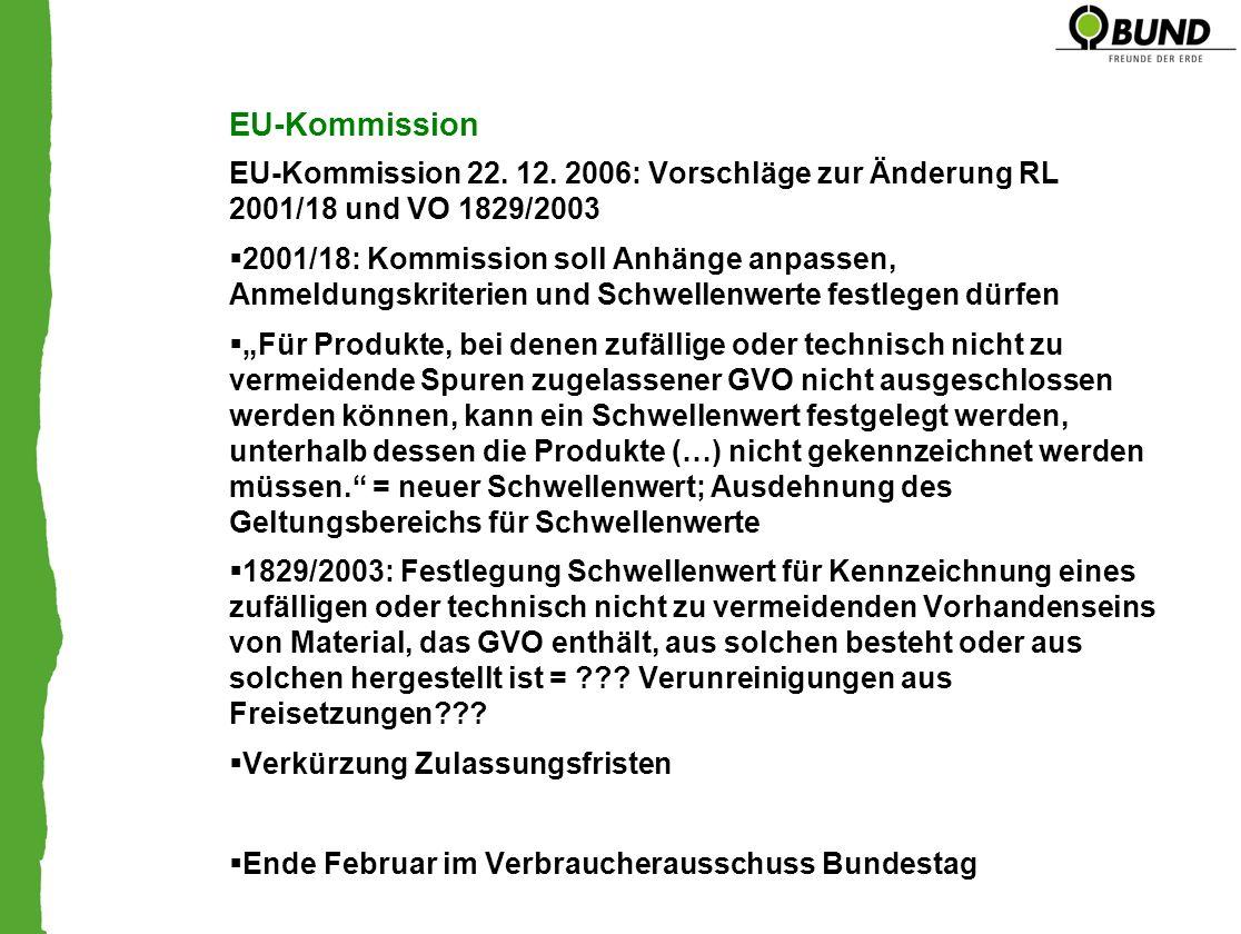 EU-Kommission EU-Kommission 22. 12. 2006: Vorschläge zur Änderung RL 2001/18 und VO 1829/2003 2001/18: Kommission soll Anhänge anpassen, Anmeldungskri