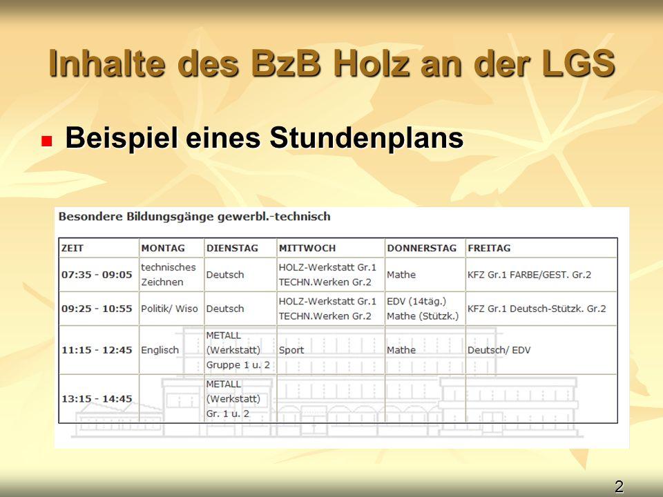 2 Inhalte des BzB Holz an der LGS Beispiel eines Stundenplans Beispiel eines Stundenplans