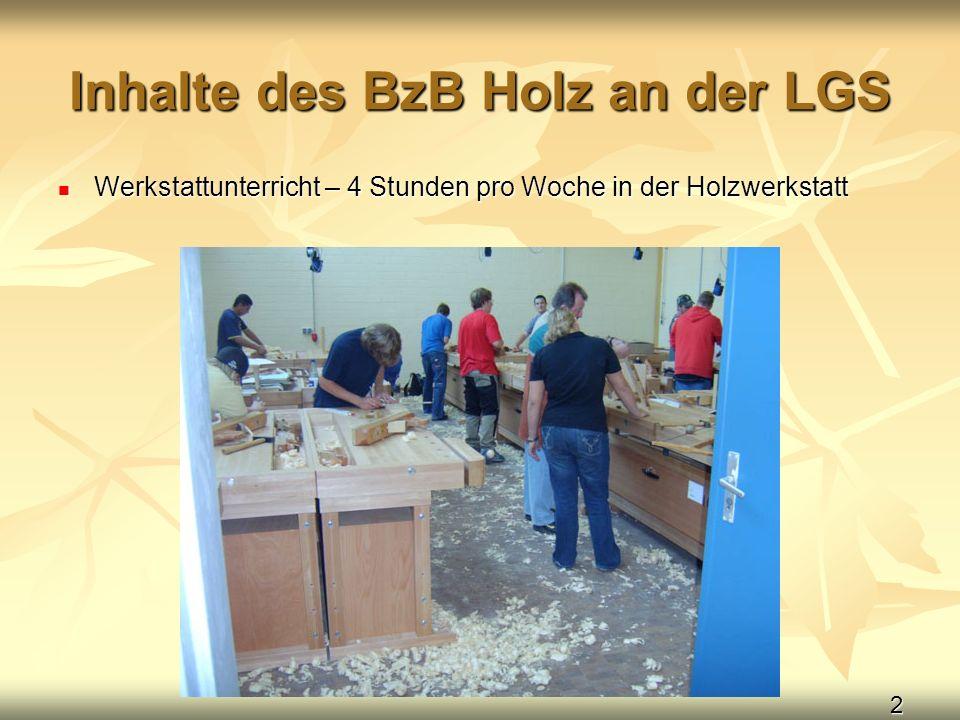 2 Inhalte des BzB Holz an der LGS Werkstattunterricht – 4 Stunden pro Woche in der Holzwerkstatt Werkstattunterricht – 4 Stunden pro Woche in der Holz