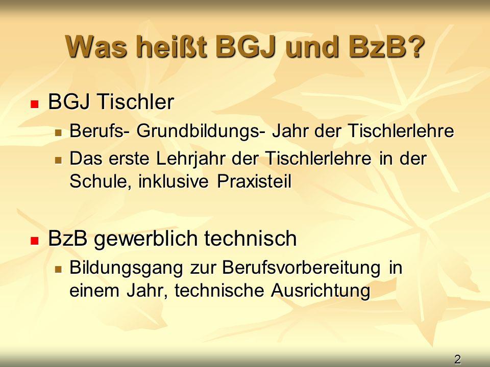 2 Was heißt BGJ und BzB? BGJ Tischler BGJ Tischler Berufs- Grundbildungs- Jahr der Tischlerlehre Berufs- Grundbildungs- Jahr der Tischlerlehre Das ers