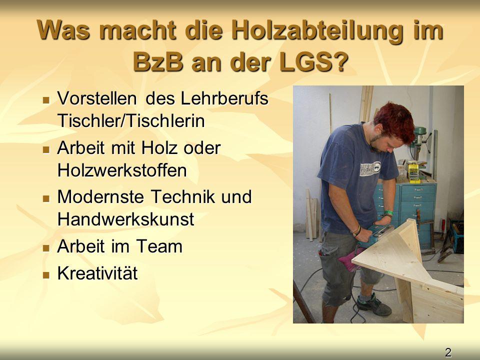 2 Was macht die Holzabteilung im BzB an der LGS? Vorstellen des Lehrberufs Tischler/Tischlerin Vorstellen des Lehrberufs Tischler/Tischlerin Arbeit mi