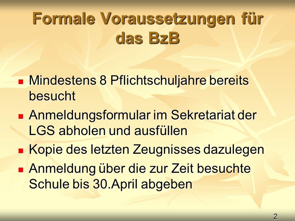 2 Formale Voraussetzungen für das BzB Mindestens 8 Pflichtschuljahre bereits besucht Mindestens 8 Pflichtschuljahre bereits besucht Anmeldungsformular