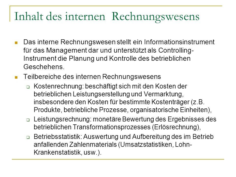Inhalt des internen Rechnungswesens Das interne Rechnungswesen stellt ein Informationsinstrument für das Management dar und unterstützt als Controllin