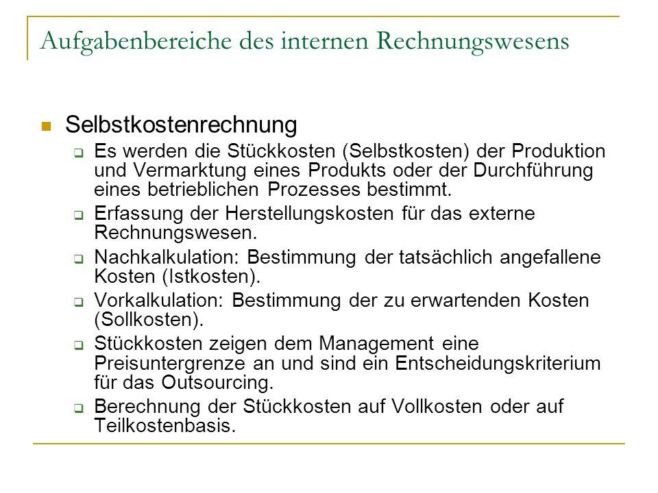 Aufgabenbereiche des internen Rechnungswesens Selbstkostenrechnung Es werden die Stückkosten (Selbstkosten) der Produktion und Vermarktung eines Produ