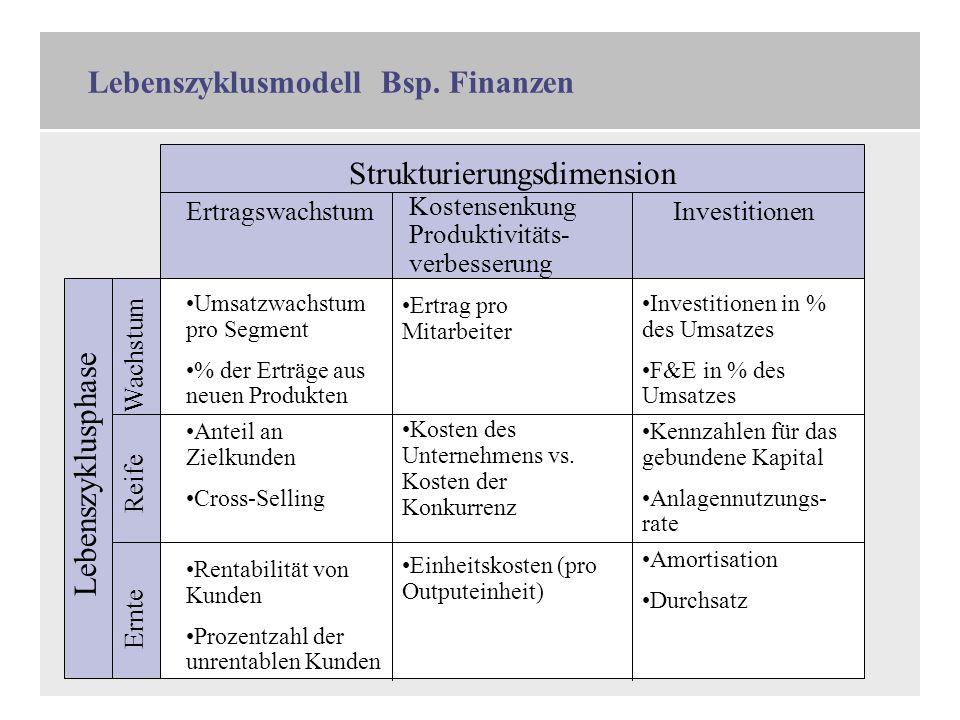 4 Lebenszyklusmodell Bsp. Finanzen Wachstum Reife Ernte Lebenszyklusphase Ertragswachstum Kostensenkung Produktivitäts- verbesserung Investitionen Str