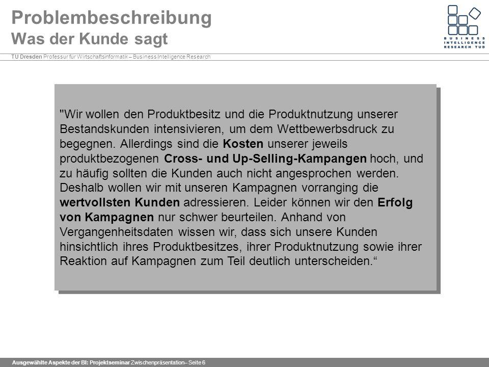 TU Dresden Professur für Wirtschaftsinformatik – Business Intelligence Research Ausgewählte Aspekte der BI: Projektseminar Zwischenpräsentation– Seite 67 Prognosemodelle Kredit Sehr geringer Fehler zweiter Art von nur 0,8%