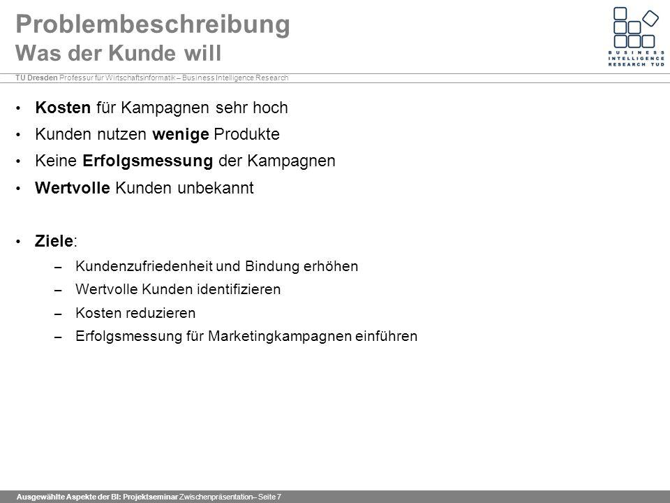 TU Dresden Professur für Wirtschaftsinformatik – Business Intelligence Research Ausgewählte Aspekte der BI: Projektseminar Zwischenpräsentation– Seite 38 Assoziationsanalyse Ergebnis II Überblick über alle erzeugten Regeln