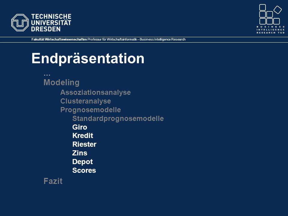 Fakultät Wirtschaftswissenschaften Professur für Wirtschaftsinformatik – Business Intelligence Research Endpräsentation … Modeling Assoziationsanalyse