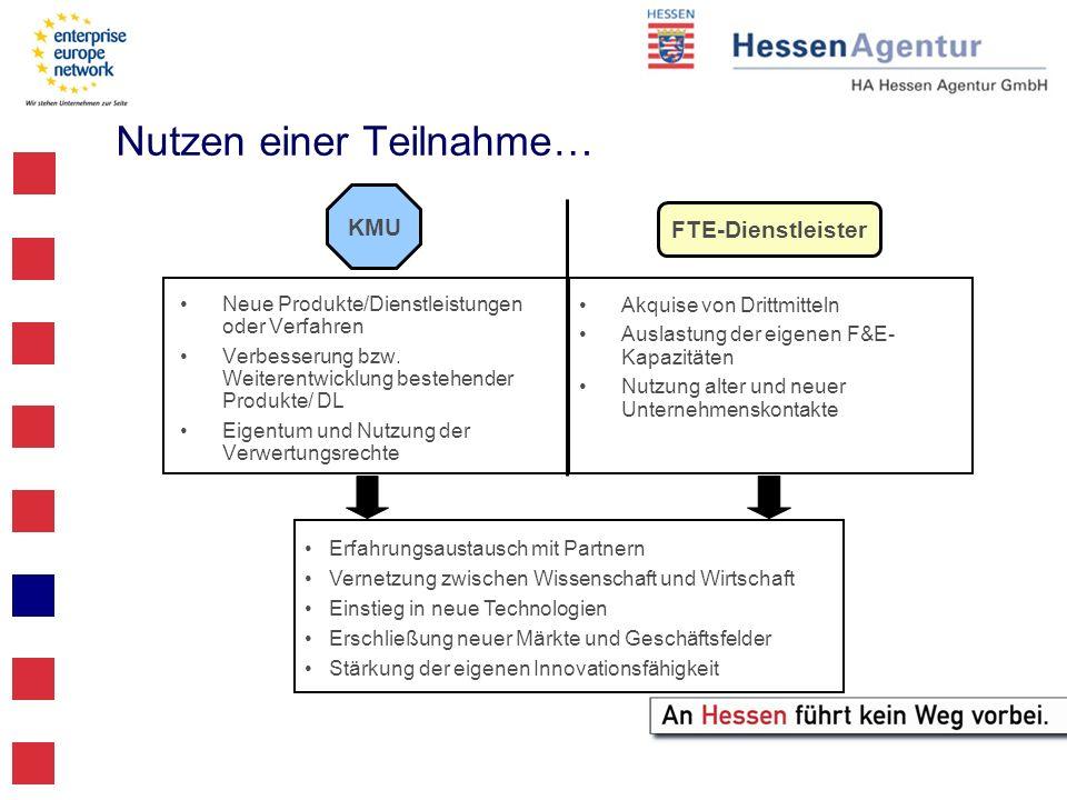 Nutzen einer Teilnahme… Neue Produkte/Dienstleistungen oder Verfahren Verbesserung bzw. Weiterentwicklung bestehender Produkte/ DL Eigentum und Nutzun