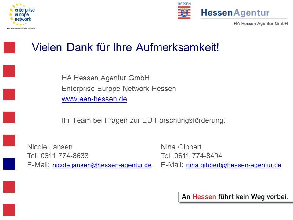 Vielen Dank für Ihre Aufmerksamkeit! HA Hessen Agentur GmbH Enterprise Europe Network Hessen www.een-hessen.de Ihr Team bei Fragen zur EU-Forschungsfö