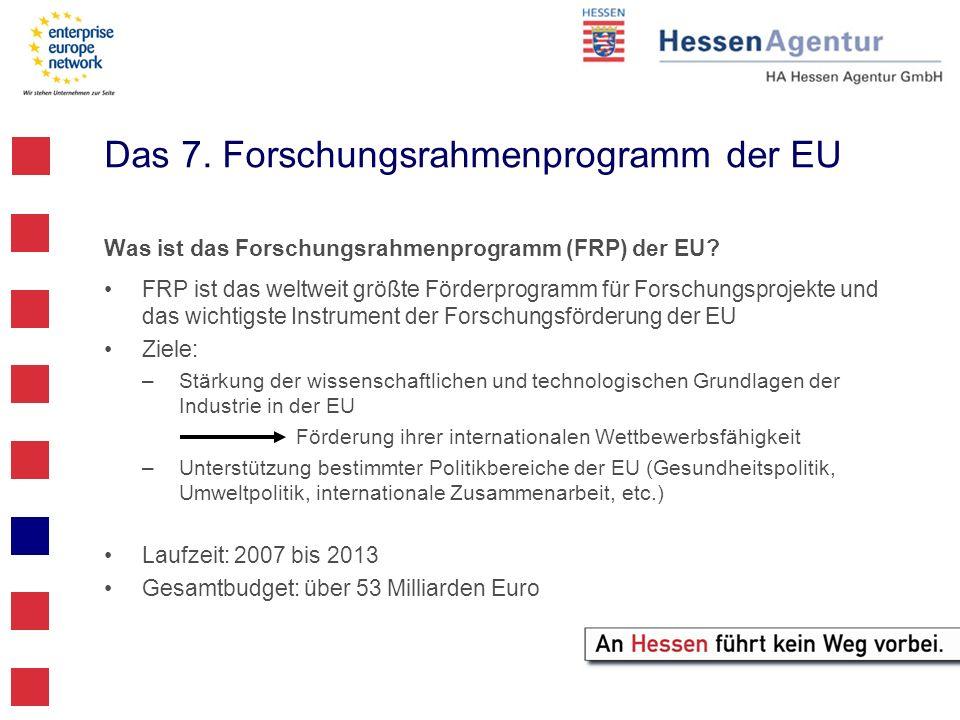 Das 7. Forschungsrahmenprogramm der EU Was ist das Forschungsrahmenprogramm (FRP) der EU? FRP ist das weltweit größte Förderprogramm für Forschungspro