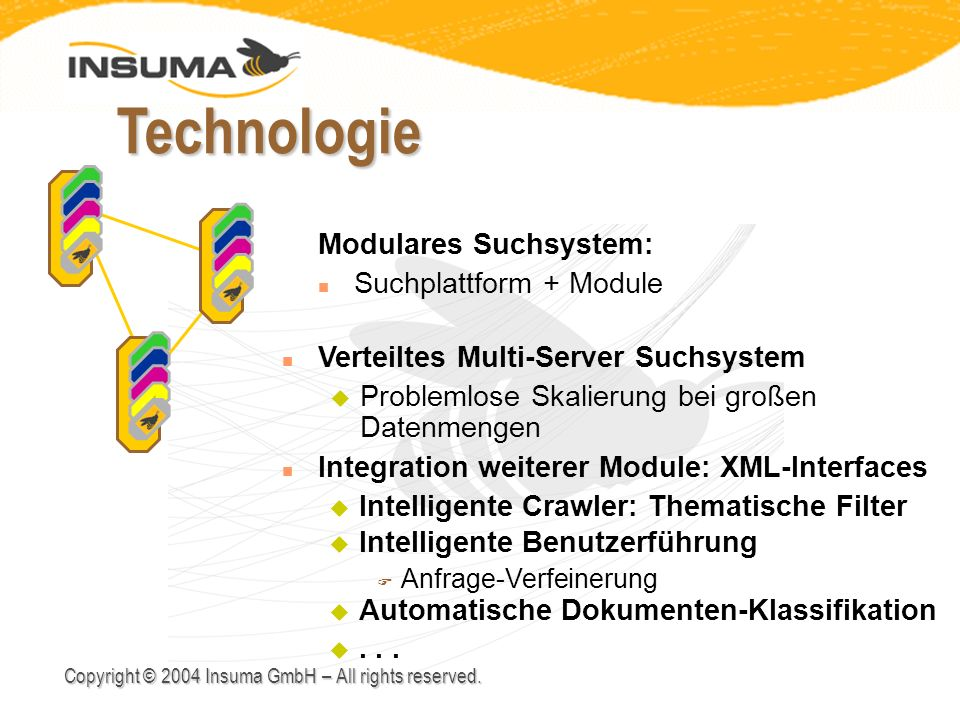 Copyright © 2004 Insuma GmbH – All rights reserved. Technologie n Integration weiterer Module: XML-Interfaces n Verteiltes Multi-Server Suchsystem u P