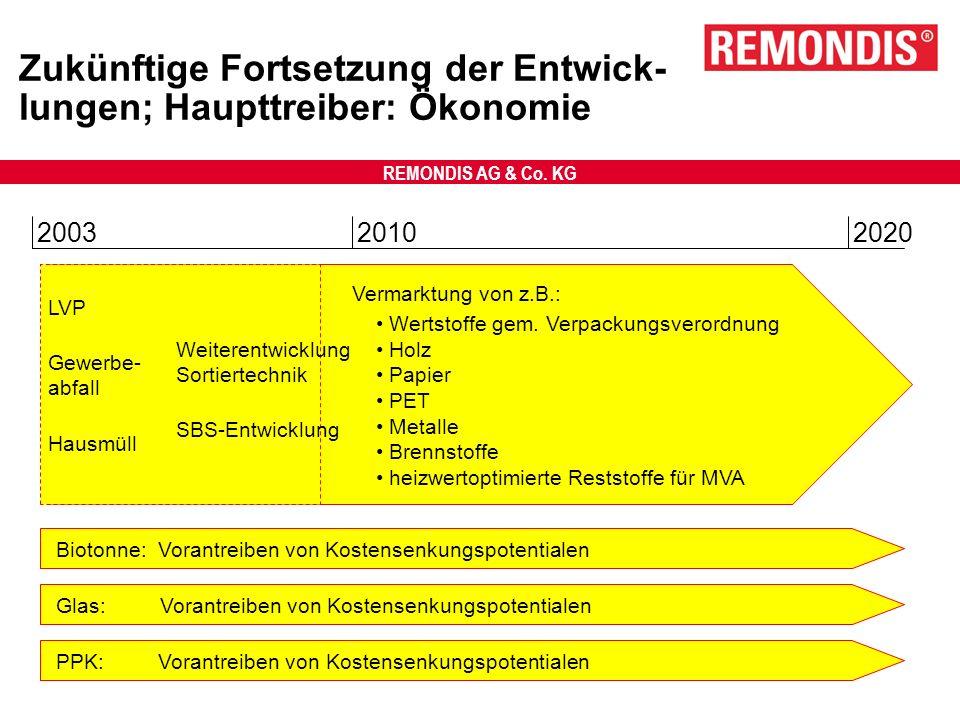 REMONDIS AG & Co. KG Zukünftige Fortsetzung der Entwick- lungen; Haupttreiber: Ökonomie 200320102020 Wertstoffe gem. Verpackungsverordnung Holz Papier