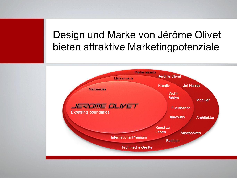 Design und Marke von Jérôme Olivet bieten attraktive Marketingpotenziale Exploring boundaries Wohl- fühlen Kreativ International Premium Futuristisch