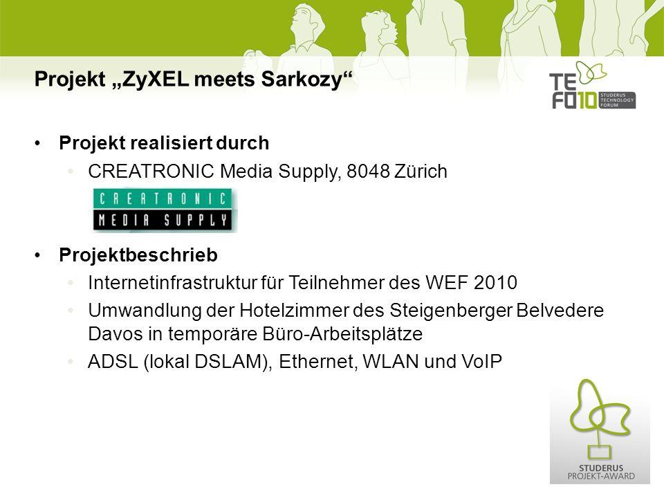Projekt realisiert durch CREATRONIC Media Supply, 8048 Zürich Projektbeschrieb Internetinfrastruktur für Teilnehmer des WEF 2010 Umwandlung der Hotelzimmer des Steigenberger Belvedere Davos in temporäre Büro-Arbeitsplätze ADSL (lokal DSLAM), Ethernet, WLAN und VoIP