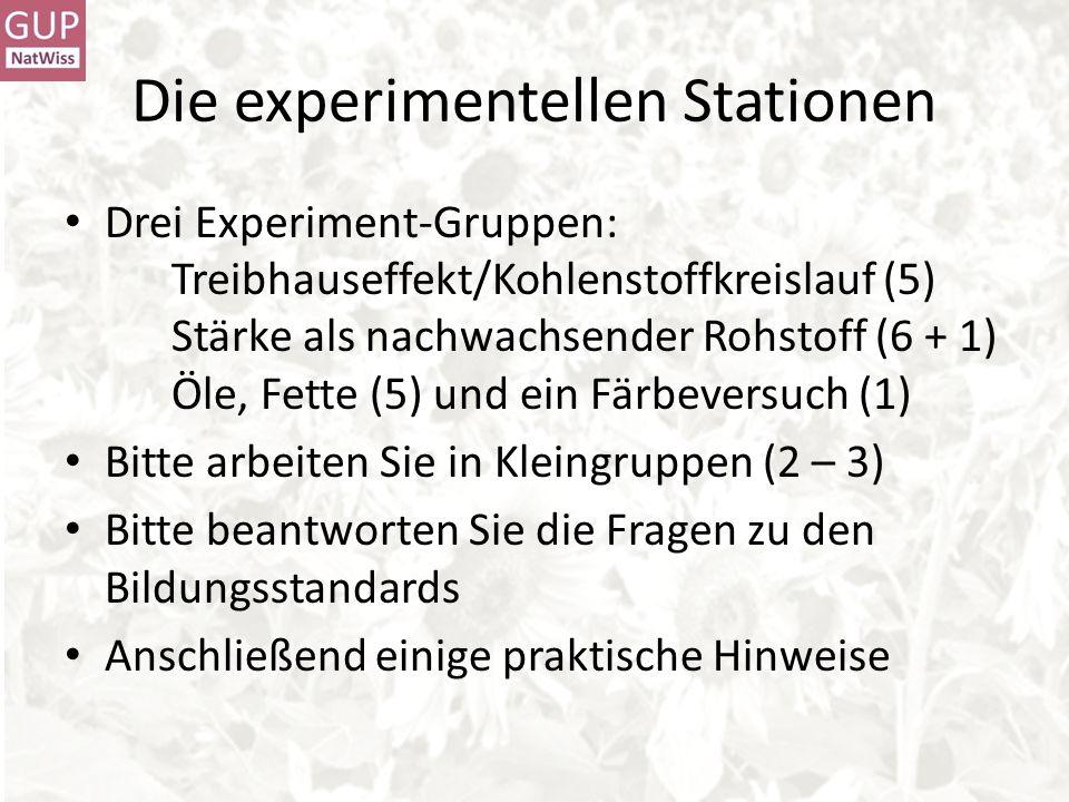 Die experimentellen Stationen Drei Experiment-Gruppen: Treibhauseffekt/Kohlenstoffkreislauf (5) Stärke als nachwachsender Rohstoff (6 + 1) Öle, Fette (5) und ein Färbeversuch (1) Bitte arbeiten Sie in Kleingruppen (2 – 3) Bitte beantworten Sie die Fragen zu den Bildungsstandards Anschließend einige praktische Hinweise