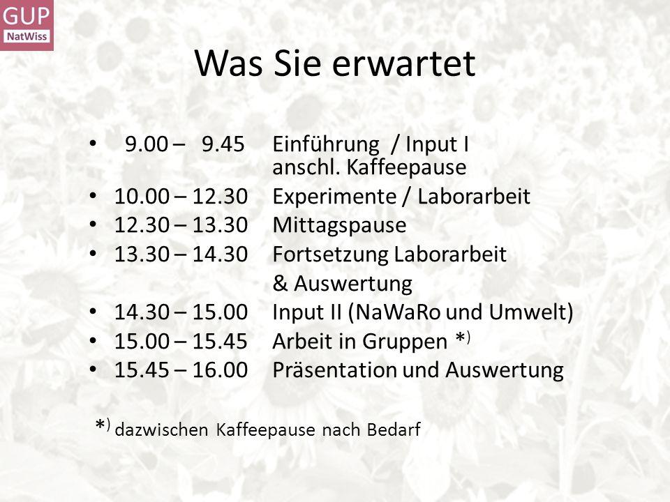Was Sie erwartet 9.00 – 9.45 Einführung / Input I anschl. Kaffeepause 10.00 – 12.30 Experimente / Laborarbeit 12.30 – 13.30Mittagspause 13.30 – 14.30F