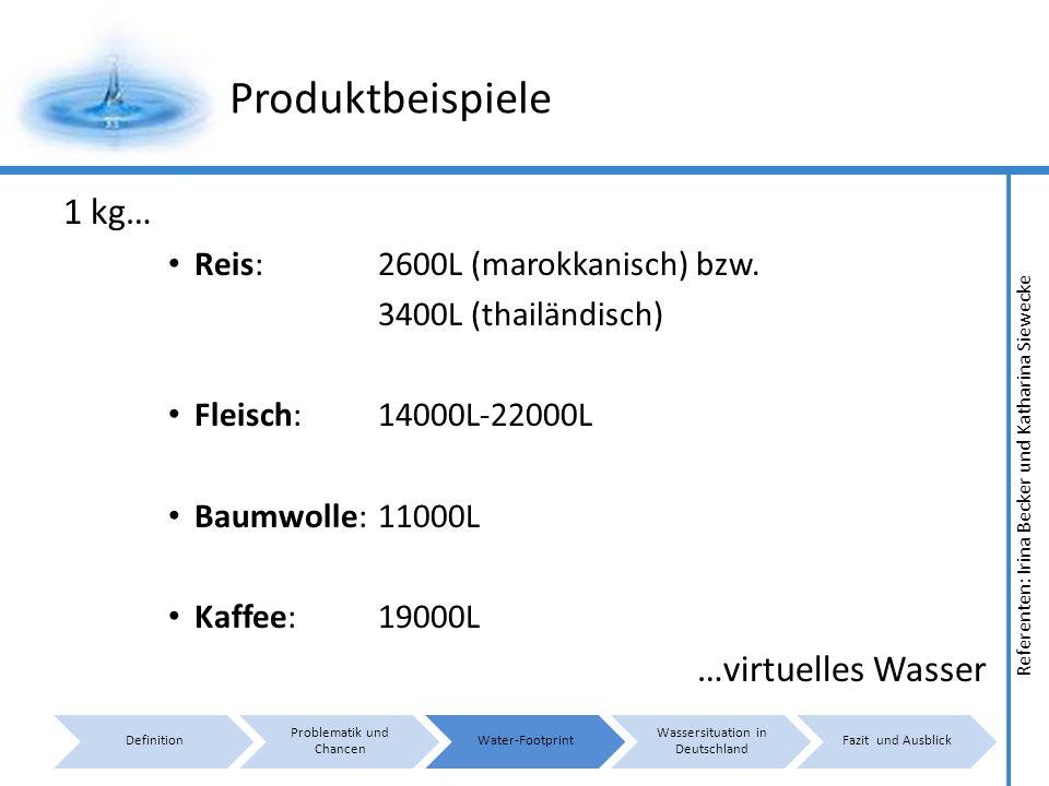 Referenten: Irina Becker und Katharina Siewecke Produktbeispiele 1 kg… Reis: 2600L (marokkanisch) bzw.