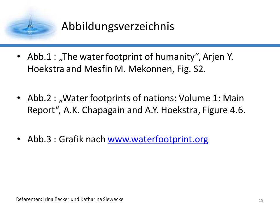 Referenten: Irina Becker und Katharina Siewecke Abbildungsverzeichnis Abb.1 : The water footprint of humanity, Arjen Y.