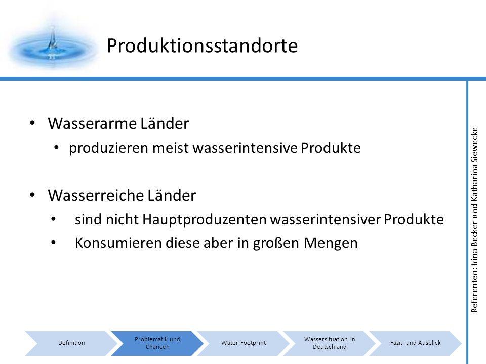 Referenten: Irina Becker und Katharina Siewecke Produktionsstandorte Wasserarme Länder produzieren meist wasserintensive Produkte Wasserreiche Länder sind nicht Hauptproduzenten wasserintensiver Produkte Konsumieren diese aber in großen Mengen