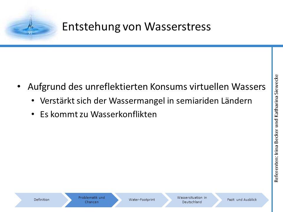 Referenten: Irina Becker und Katharina Siewecke Entstehung von Wasserstress Aufgrund des unreflektierten Konsums virtuellen Wassers Verstärkt sich der Wassermangel in semiariden Ländern Es kommt zu Wasserkonflikten