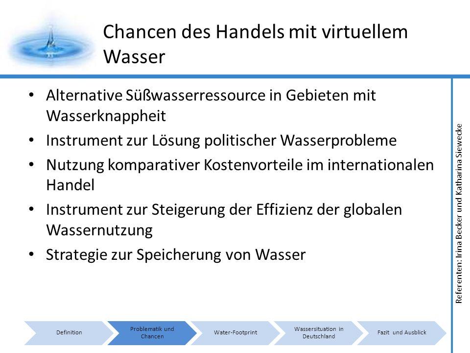 Referenten: Irina Becker und Katharina Siewecke Konzept Water - Footprint I Ein Konzept zur Weiterführung des virtuellen Wassers von Hoekstra Aufstellung einer Wasserbilanz zwischen verschiedenen Staaten/Produkten Berechnung der tatsächlich fließenden virtuellen Wassermengen Aufzeigen von Lösungsansätzen
