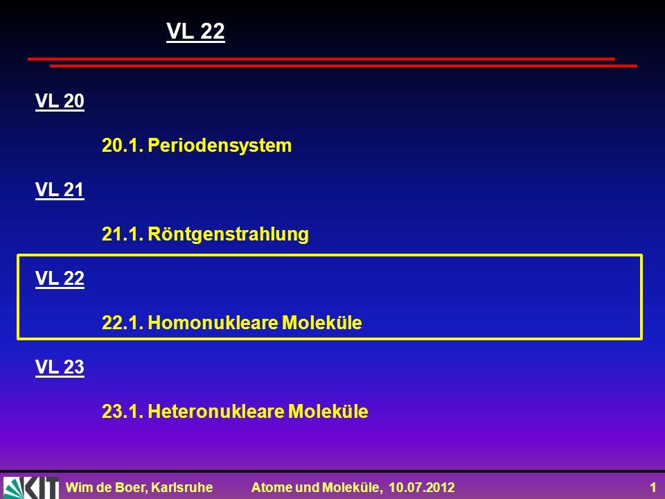 Wim de Boer, Karlsruhe Atome und Moleküle, 10.07.2012 1 VL 20 20.1. Periodensystem VL 21 21.1. Röntgenstrahlung VL 22 22.1. Homonukleare Moleküle VL 2